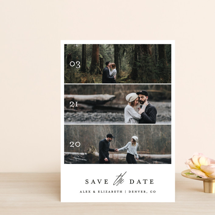 """Triptych Love"" - Save The Date Petite Cards in Silk by Becca Thongkham."