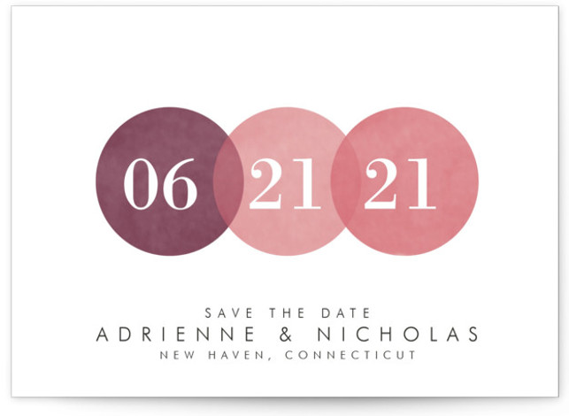 This is a landscape painterly, pink Save the Dates by Amanda Sager called Simply in Love with Standard printing on Signature in Petite fold over (blank inside) format. This simple yet elegant design makes that special day stand out.