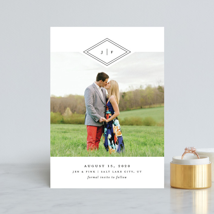 """Looking Sharp"" - Modern Save The Date Petite Cards in Cotton by Stacey Meacham."