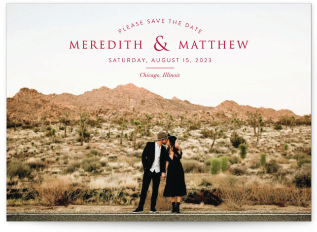 This is a landscape, portrait simple and minimalist, red Save the Dates by Erin Deegan called Mark Your Calendar with Standard printing on Smooth Signature in Petite Flat Card format. Full bleed photo save the date card with a typographic ...