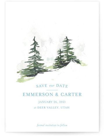 This is a portrait illustrative, blue Save the Dates by Mere Paper called On the Slopes with Standard printing on Signature in Petite Flat Card format. A watercolor snow covered evergreen landscape for the winter destination wedding.