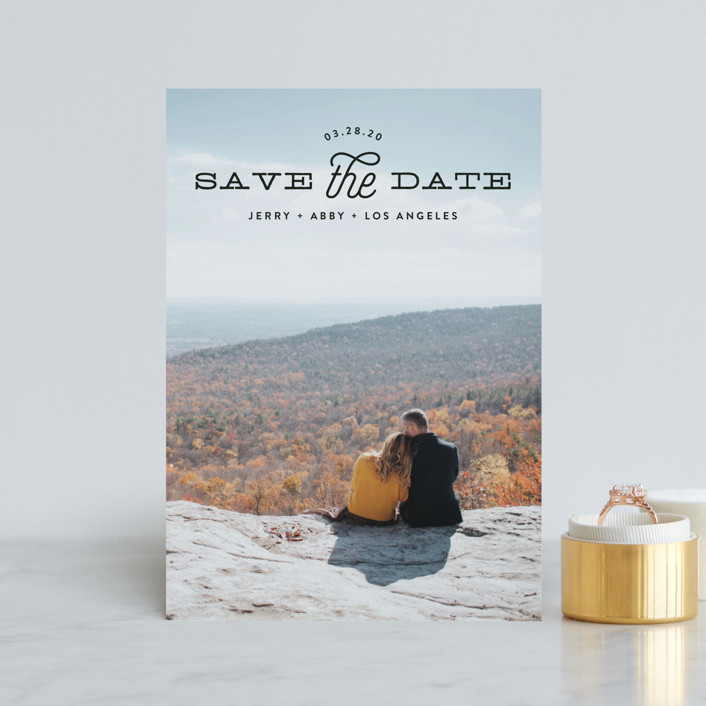 """Heading"" - Modern Save The Date Petite Cards in Noir by Phrosne Ras."