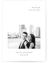 This is a white petite save the date by Playground Prints called Minimal Romance with standard printing on smooth signature in petite.
