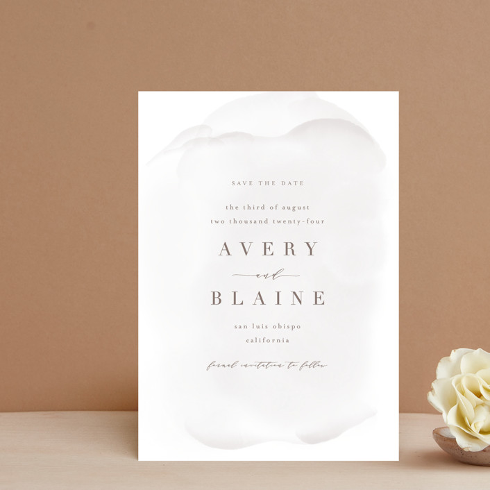 """""""Awash"""" - Save The Date Petite Cards in Fog by Leah Bisch."""