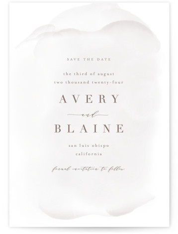 This is a portrait classic and formal, grey Save the Dates by Leah Bisch called Awash with Standard printing on Signature in Petite Flat Card format. Understated and elegant watercolor save the date