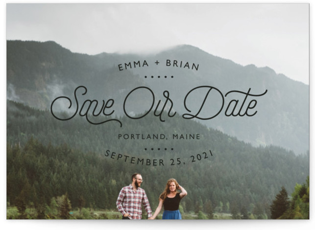 This is a landscape modern, black Save the Dates by 24th and Dune called Something New with Standard printing on Signature in Petite Flat Card format. This simple 1 photo, full bleed card is minimal in appearance and lets the ...