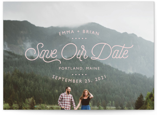 This is a landscape modern, pink Save the Dates by 24th and Dune called Something New with Standard printing on Signature in Petite fold over (blank inside) format. This simple 1 photo, full bleed card is minimal in appearance and ...
