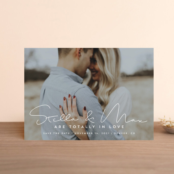 """""""totally in love"""" - Save The Date Petite Cards in Cotton by Guess What Design Studio."""