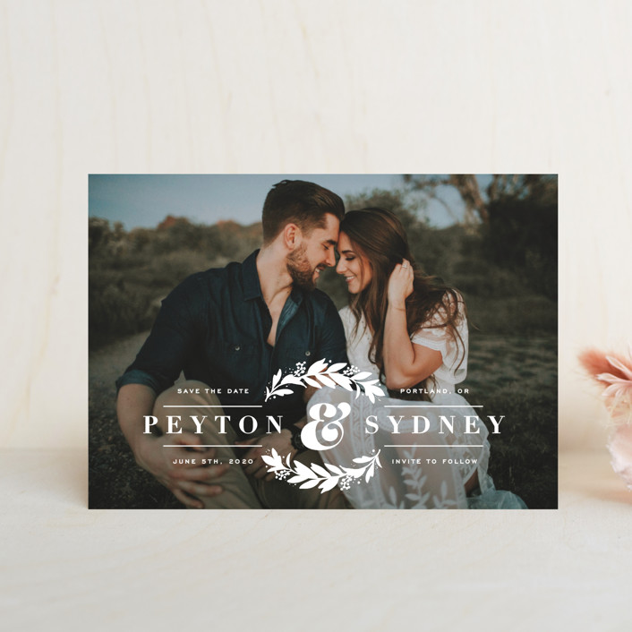 """His & Hers"" - Classical, Floral & Botanical Save The Date Petite Cards in Snow by Hooray Creative."