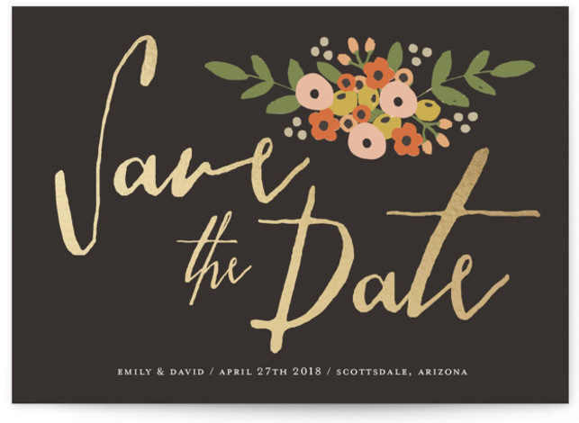This is a landscape rustic, grey, black Save the Dates by August and Oak called Tiny Flower Bunch with Standard printing on Signature in Petite Flat Card format. A floral save the date in modern dark colors.