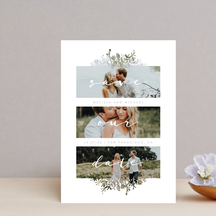"""Whispers"" - Floral & Botanical Save The Date Petite Cards in Stone by JeAnna Casper."
