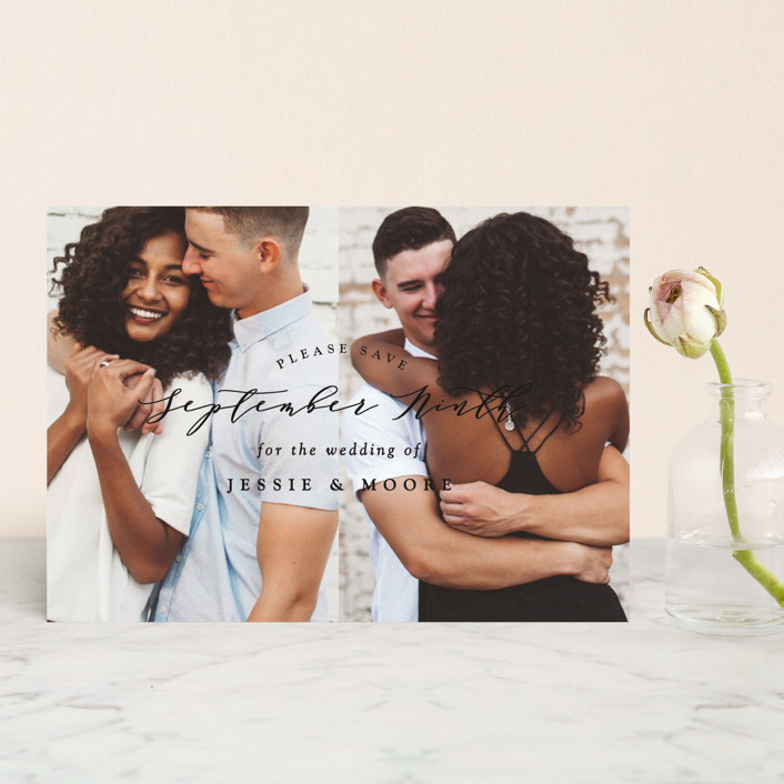 """""""New Style"""" - Save The Date Petite Cards in Onyx by Owl and Toad."""