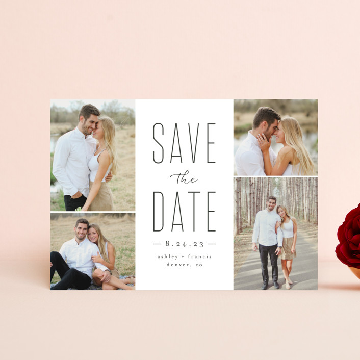 """Tall Love"" - Save The Date Petite Cards in Charcoal by peony papeterie."