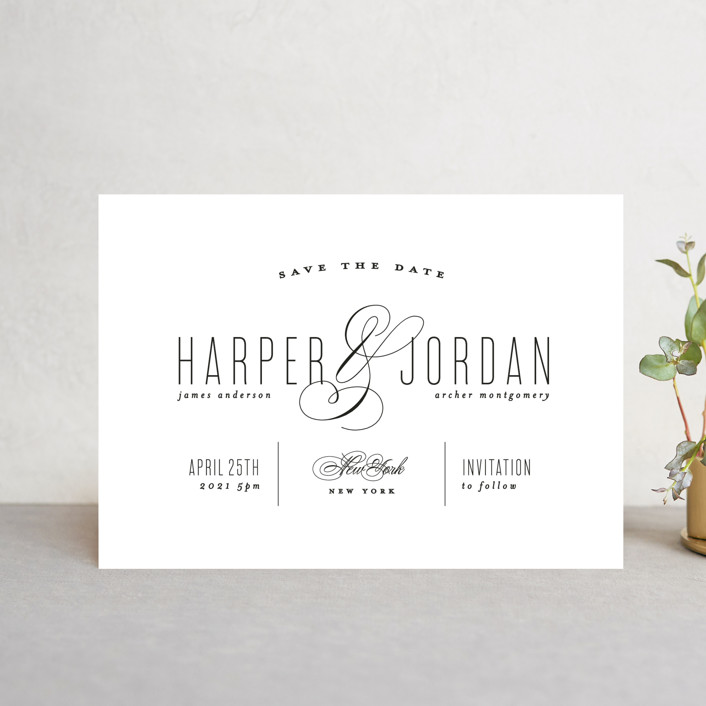 """""""Scripted Ampersand"""" - Save The Date Petite Cards in Midnight by Roxy Cervantes."""