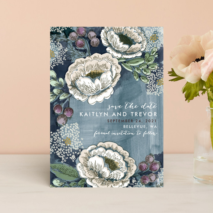 """Soft Watercolor Florals"" - Save The Date Petite Cards in Midnight Blue by Alethea and Ruth."
