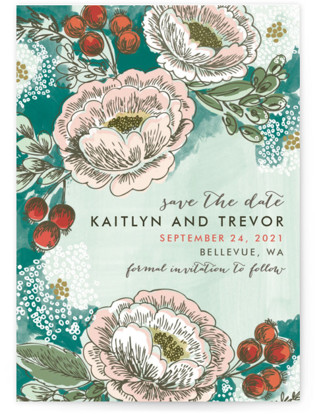 Soft Watercolor Florals Save the Date Petite Cards