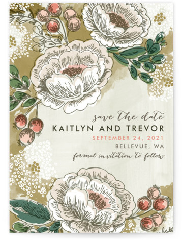 This is a portrait botanical, green Save the Dates by Alethea and Ruth called Soft Watercolor Florals with Standard printing on Signature in Petite Flat Card format. This non photo save the date features an artistic display of watercolored florals ...