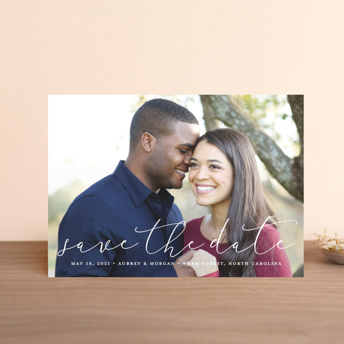 """""""Etched in love"""" - Save The Date Petite Cards in Cloud by Stacey Meacham."""