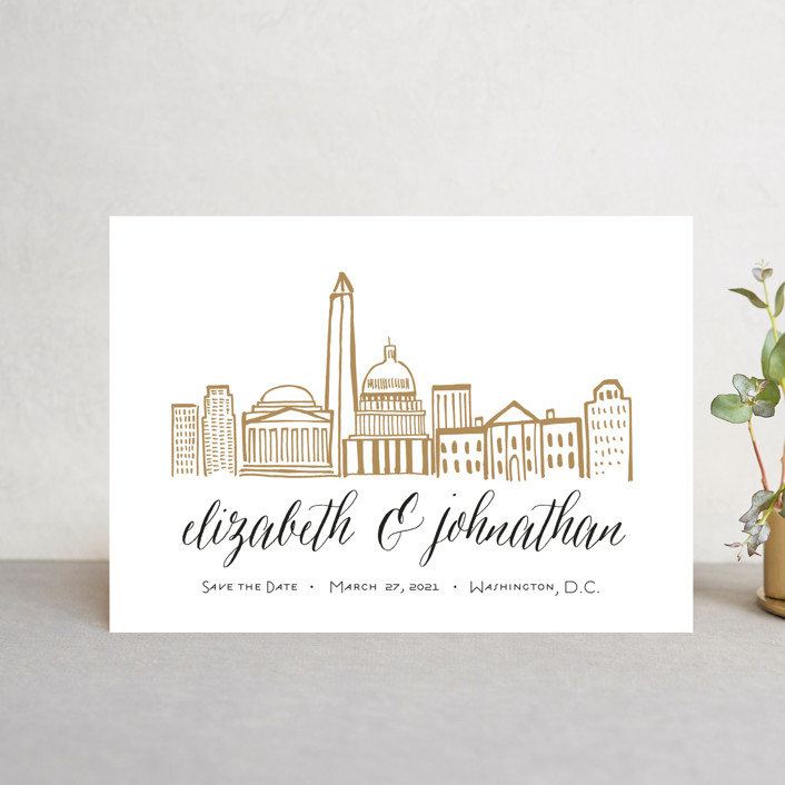 """Skyline - Washington DC"" - Save The Date Petite Cards in Gold Coast by Abby Munn."