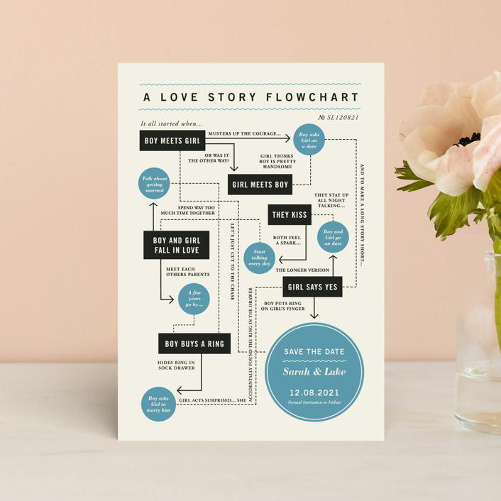 """""""Flowchart"""" - Save The Date Petite Cards in Blueberry by Brooke Chandler."""