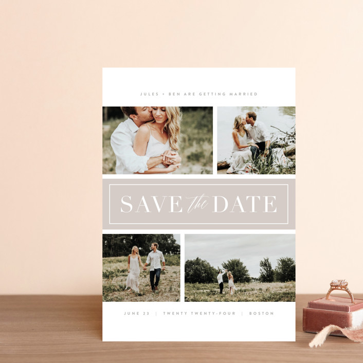 """""""Banner Day"""" - Save The Date Petite Cards in Fawn by Kristie Kern."""