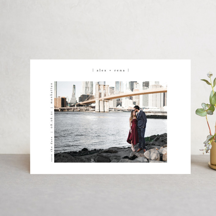 """""""Cityscape"""" - Save The Date Petite Cards in Onyx by Faith Dorn."""