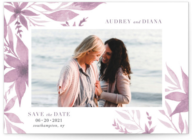This is a botanical, floral, modern, painterly, watercolor, purple Save the Dates by Nicoletta Savod called Destiny with Standard printing on Signature in Petite Flat Card format. This elegant Save the Date features hand painted watercolor florals.