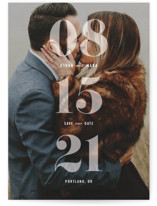 This is a white petite save the date by Hooray Creative called All About that Date with standard printing on smooth signature in petite.