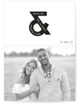 This is a white petite save the date by Gwen Bedat called Ampersand us with standard printing on smooth signature in petite.