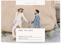 This is a brown petite save the date by Joyce Pinheiro called Label with standard printing on smooth signature in petite.