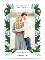 This is a green petite save the date by Alethea and Ruth called Berry Leaves with standard printing on smooth signature in petite.