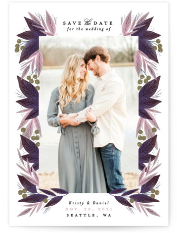 This is a botanical, floral, purple Save the Dates by Alethea and Ruth called Berry Leaves with Standard printing on Signature in Petite fold over (blank inside) format. This save the date features a frame of leaves and berries.