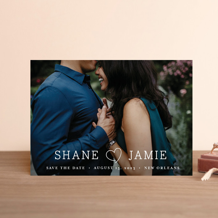 """""""Heart Love"""" - Save The Date Petite Cards in Cloud by Chasity Smith."""