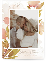 This is a yellow petite save the date by Chris Griffith called Impressions of Love with standard printing on doublethick in petite.