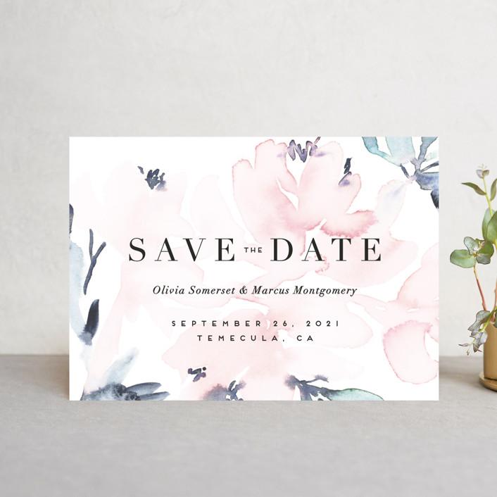 """Florista Modernista"" - Classical, Floral & Botanical Save The Date Petite Cards in Azalea by Petra Kern."