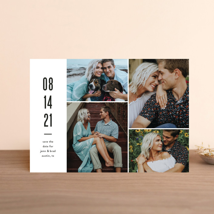 """Modern Grid"" - Minimalist, Simple Save The Date Petite Cards in fog by Jessica Ogden."