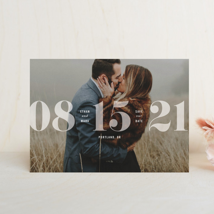 """""""All About that Date"""" - Save The Date Petite Cards in Opal by Hooray Creative."""