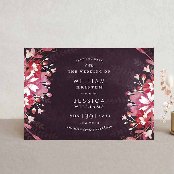 """Enchanting Plum"" - Save The Date Petite Cards in Deep Plum by Phrosne Ras."