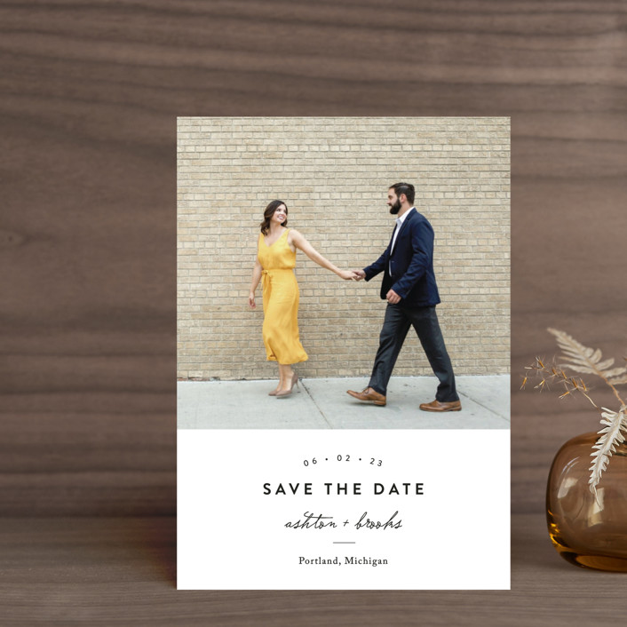 """This Modern Love"" - Save The Date Petite Cards in Onyx by Chryssi Tsoupanarias."