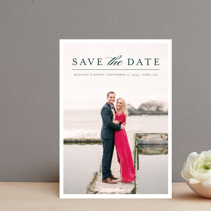 """""""Classic Save the Date"""" - Save The Date Petite Cards in Platinum by Pine and Lark."""