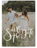 This is a white petite save the date by Wildfield Paper Co. called Summertime Love with standard printing on smooth signature in petite.
