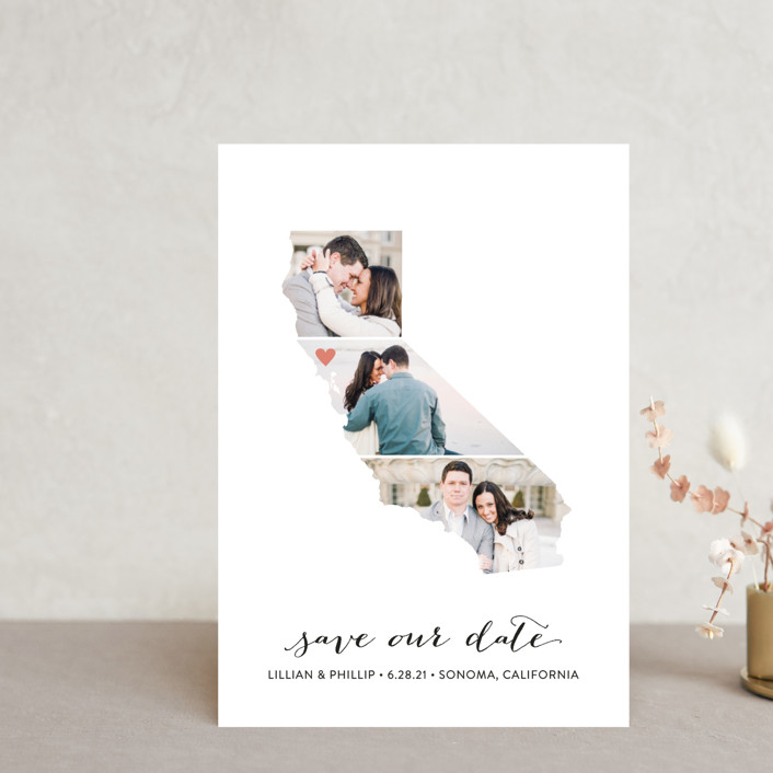"""""""California Love Location"""" - Save The Date Petite Cards in Wedding Dress by Heather Buchma."""