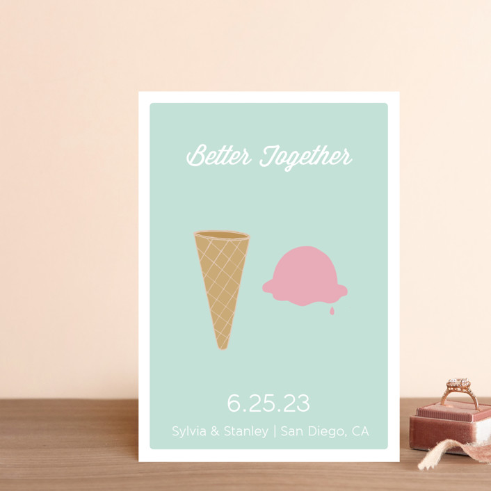 """Better Together"" - Whimsical & Funny Save The Date Petite Cards in Seafoam by Grace Cobb."
