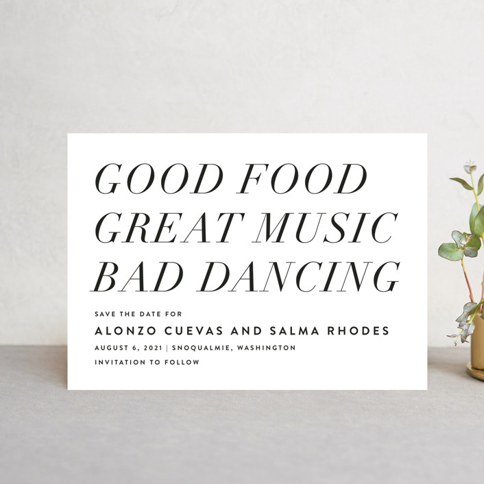 """Bad Dancing"" - Bold typographic, Simple Save The Date Petite Cards in Dove by Amy Payne."