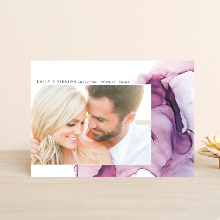 """dreamy watercolors"" - Modern Save The Date Petite Cards in Lavender by Erin Deegan."