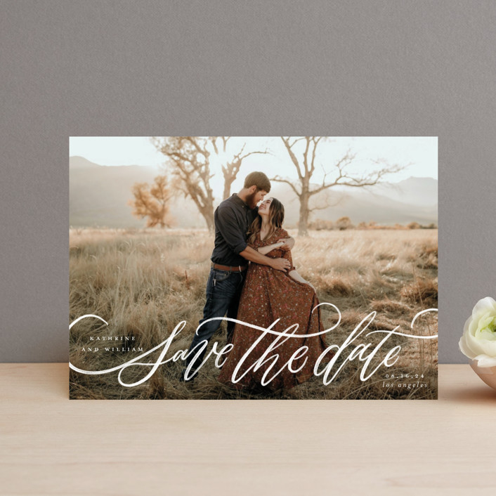 """Flourished Love"" - Save The Date Petite Cards in Cloud by Wildfield Paper Co."