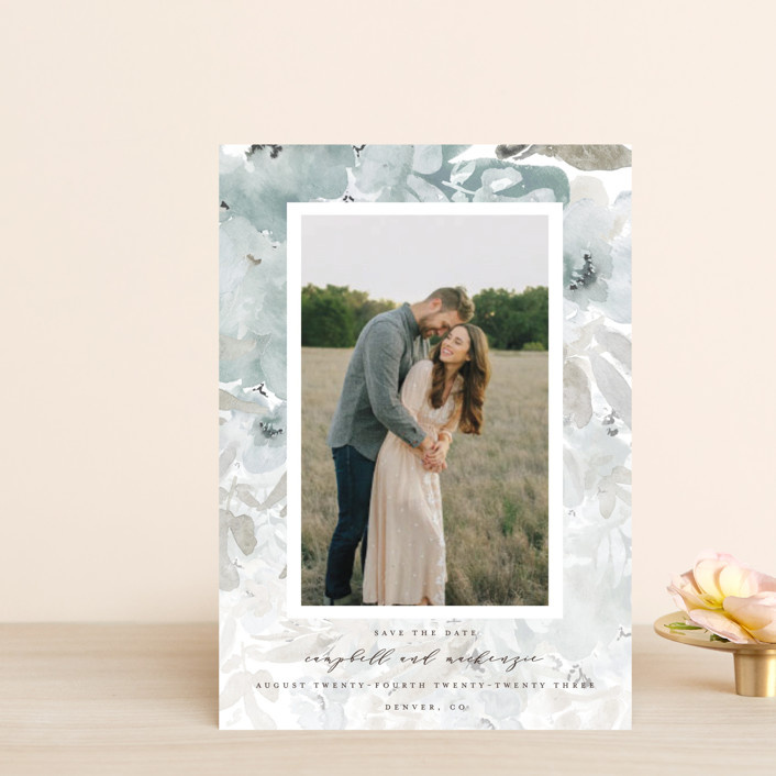 """Spring Garden Frame"" - Save The Date Petite Cards in Dew by Grace Kreinbrink."