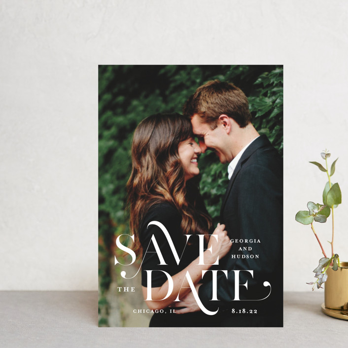 """""""Stacked Serif"""" - Bold typographic Save The Date Petite Cards in Cream by Lauren Chism."""