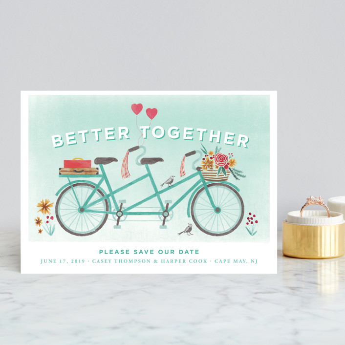 """In Tandem"" - Save The Date Petite Cards in Aqua by Laura Moyer."