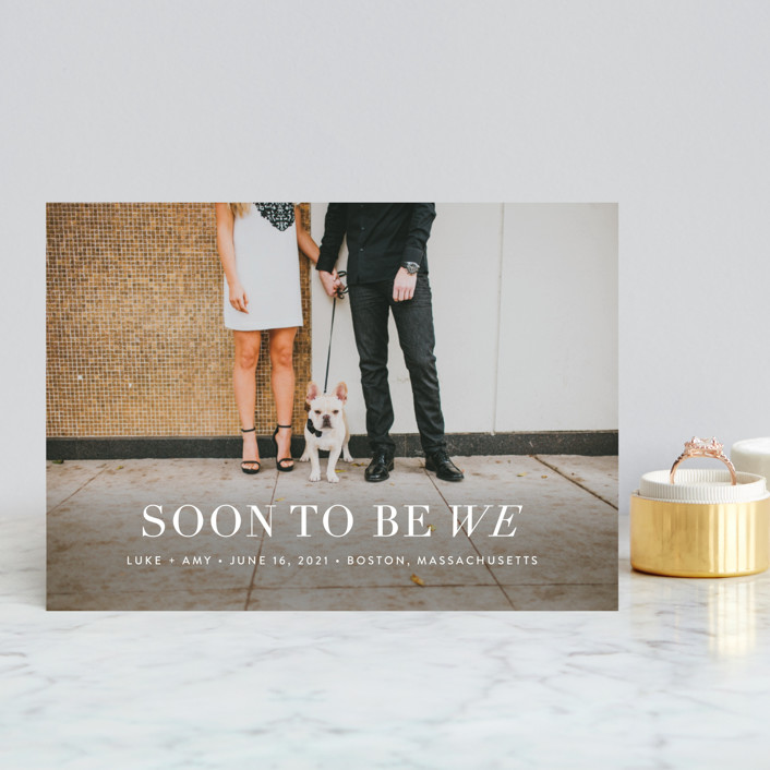 """Soon to Be We"" - Modern Save The Date Petite Cards in Snow by Sarah Curry."